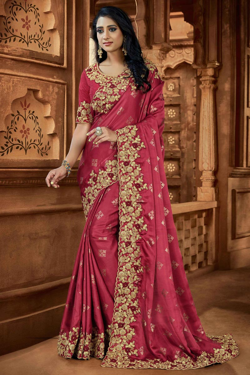 Designer Pink Color Art Silk Fabric Party Wear Saree