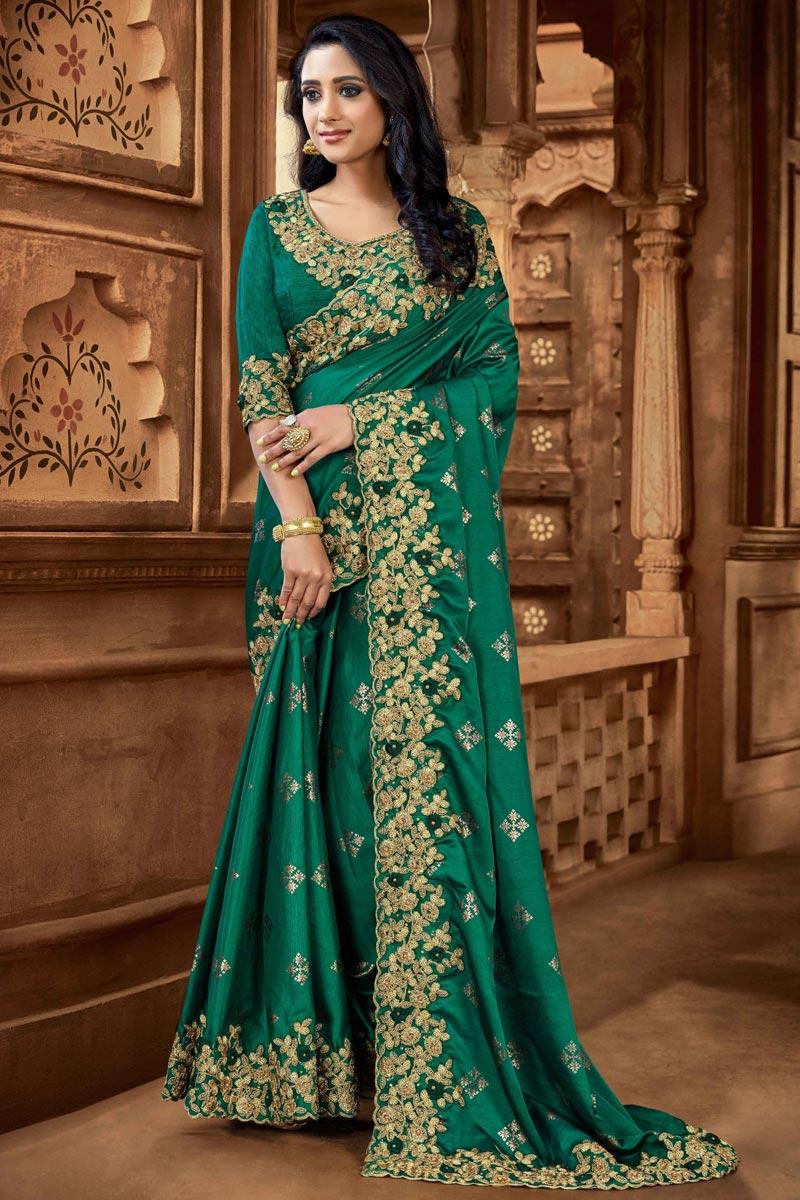 Fancy Dark Green Color Art Silk Fabric Sangeet Wear Saree