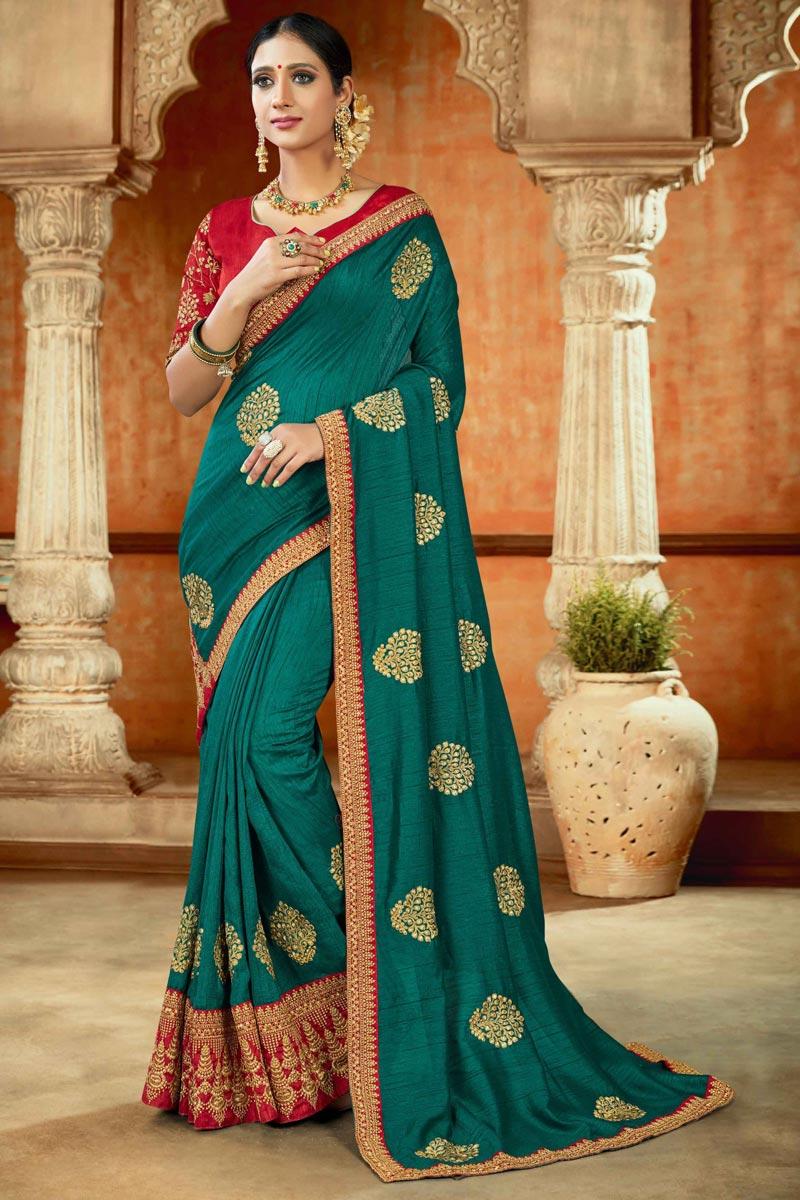 Fancy Art Silk Fabric Teal Color Saree