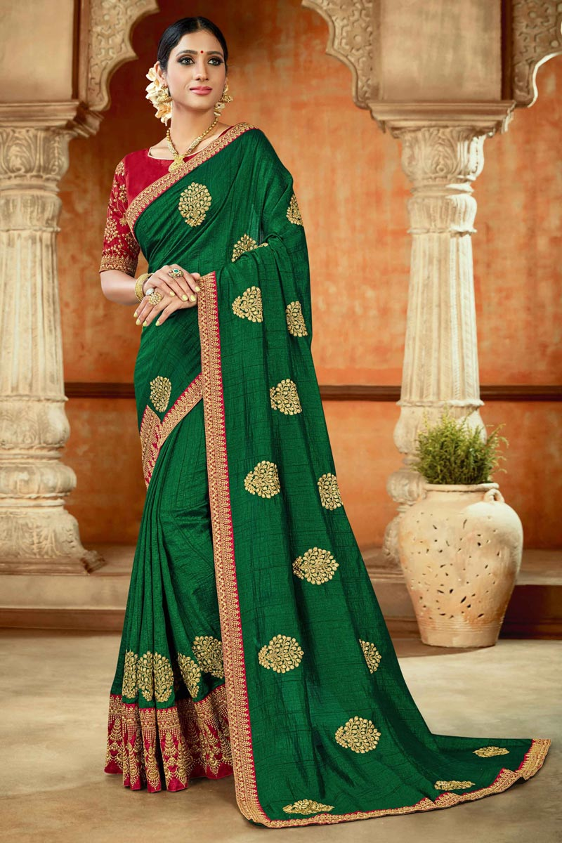 Designer Green Color Occasion Wear Saree In Art Silk Fabric