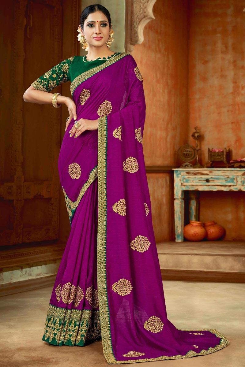 Art Silk Fabric Magenta Color Party Wear Saree