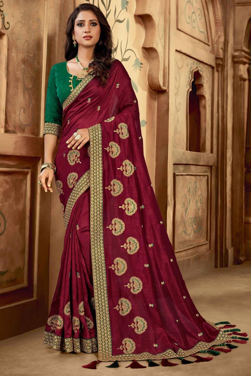 Maroon Color Art Silk Fabric Party Wear Designer Saree