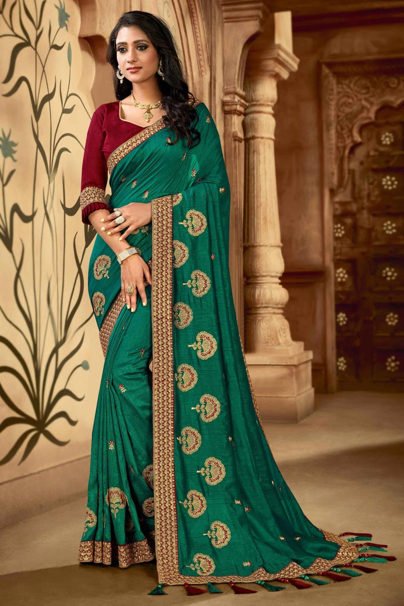 Designer Art Silk Fabric Function Wear Saree In Teal Color
