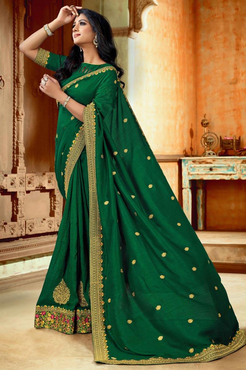 Green Color Art Silk Fabric Saree For Mehendi Ceremony