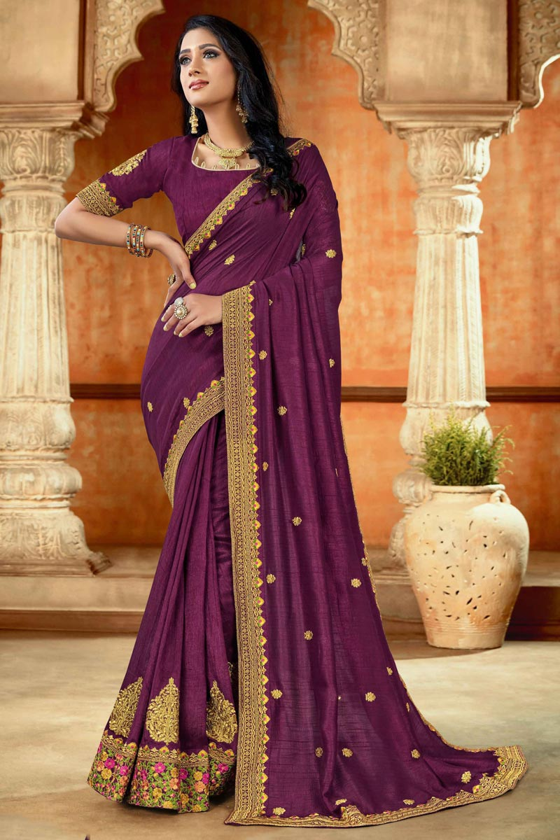 Art Silk Fabric Purple Color Saree For Wedding Function