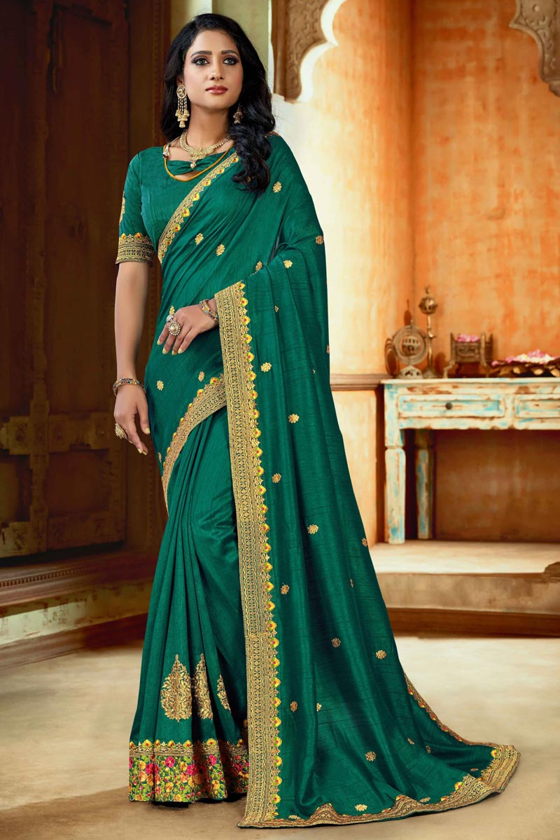 Art Silk Fabric Function Wear Teal Color Embroidered Saree