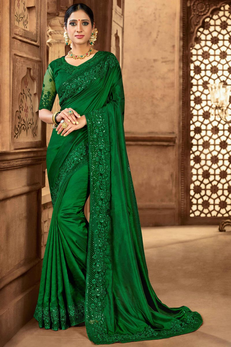 Art Silk Fabric Sangeet Wear Green Color Embroidered Saree