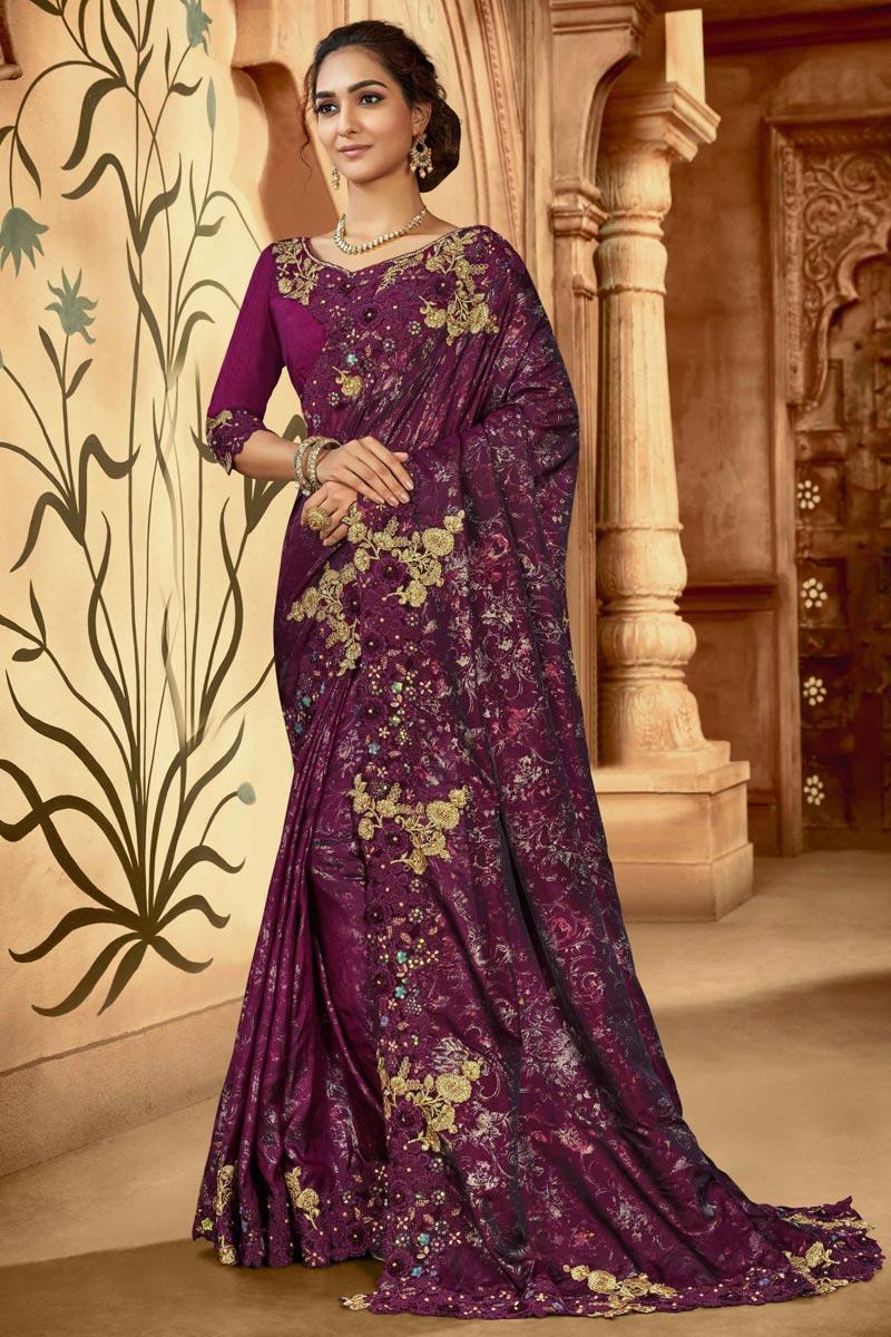 Purple Color Festive Wear Art Silk Fabric Embroidered Saree