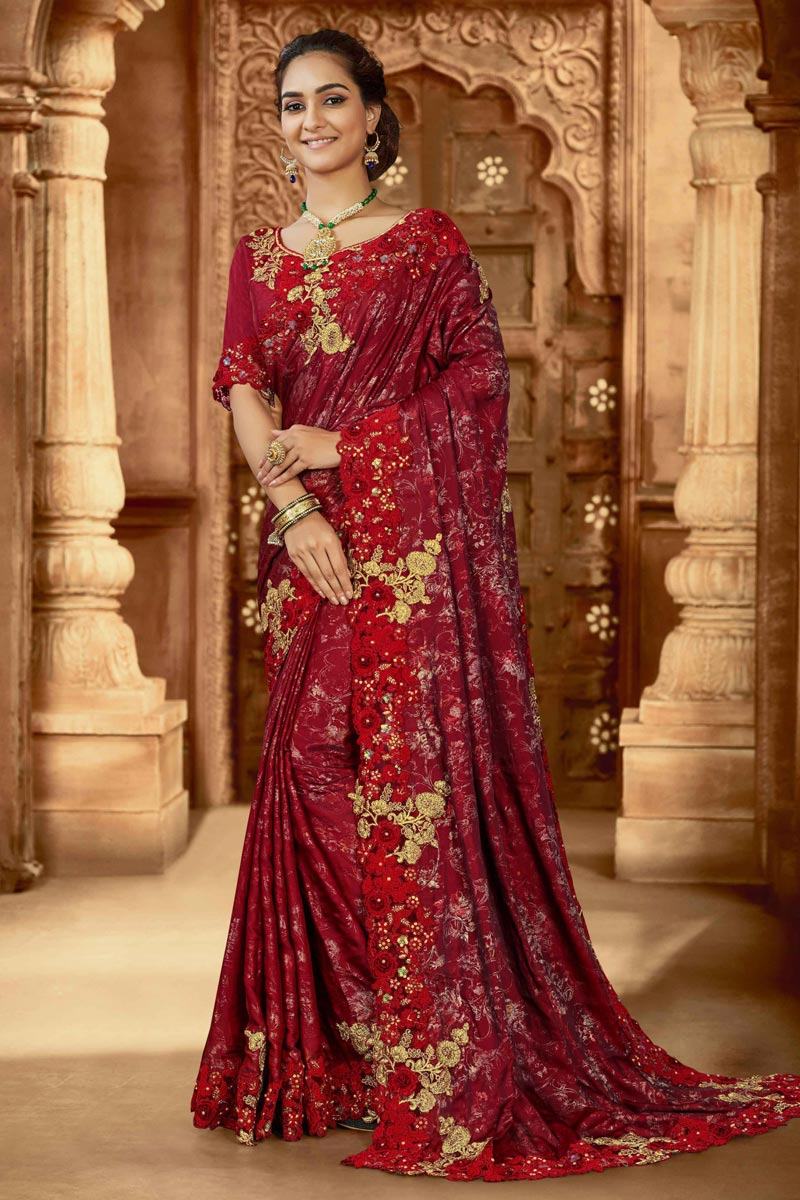 Party Wear Art Silk Fabric Embroidered Saree In Red Color