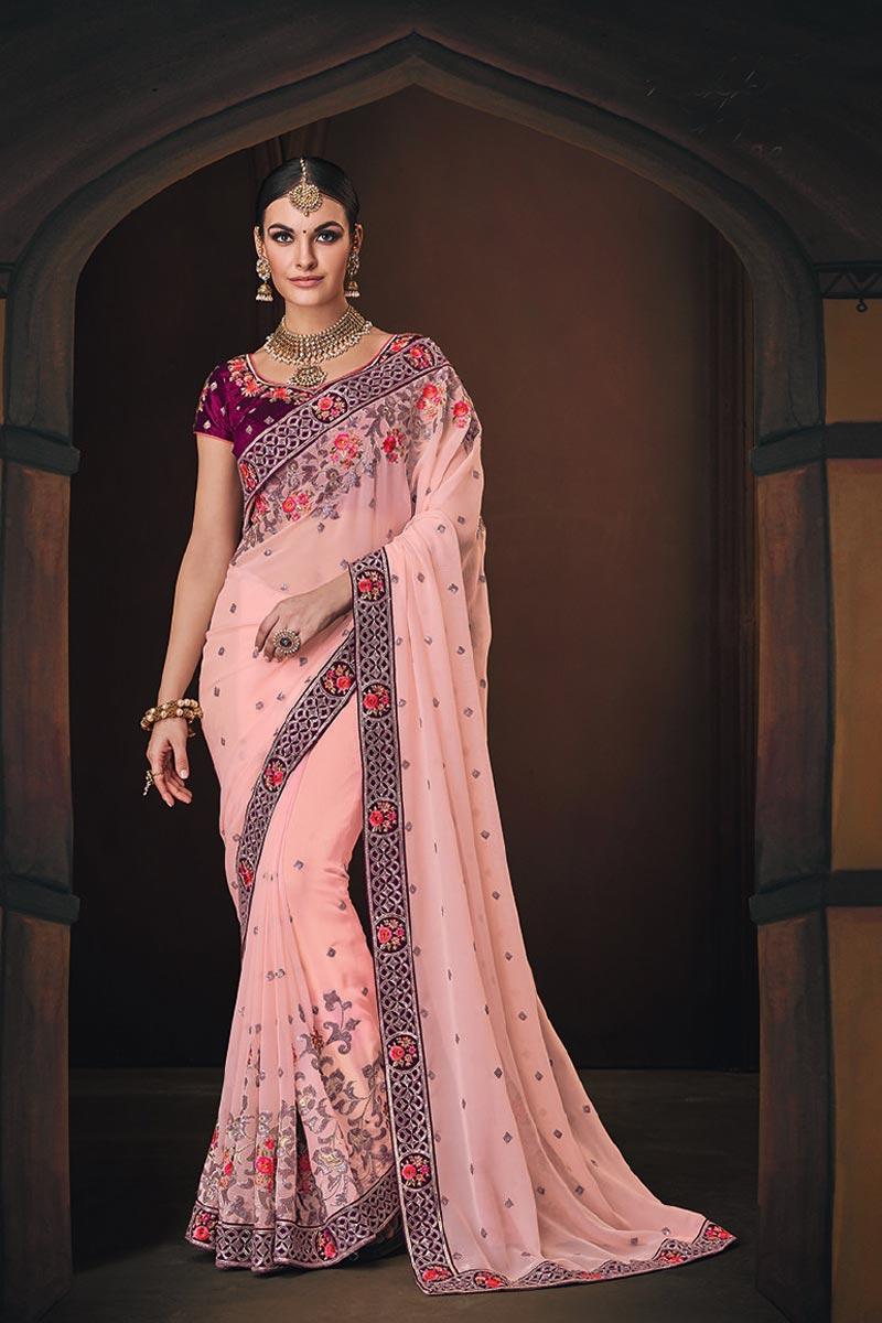 Georgette Pink Function Wear Designer Embroidered Border Work Saree