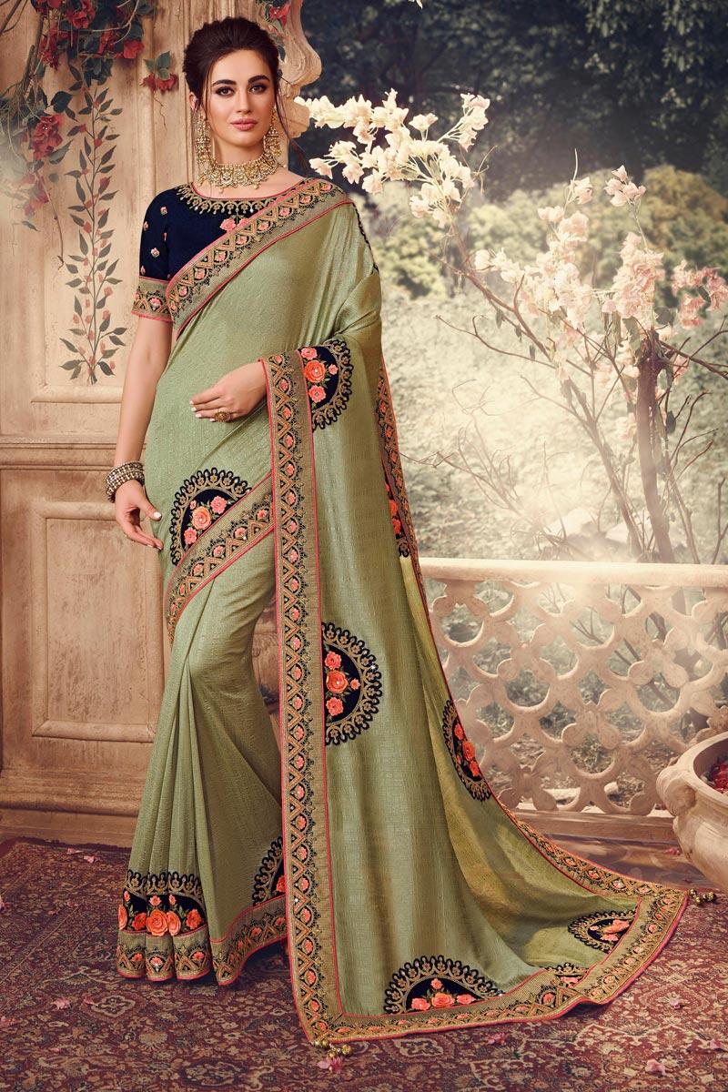 Art Silk Fabric Sangeet Wear Khaki Color Embroidery Work Saree