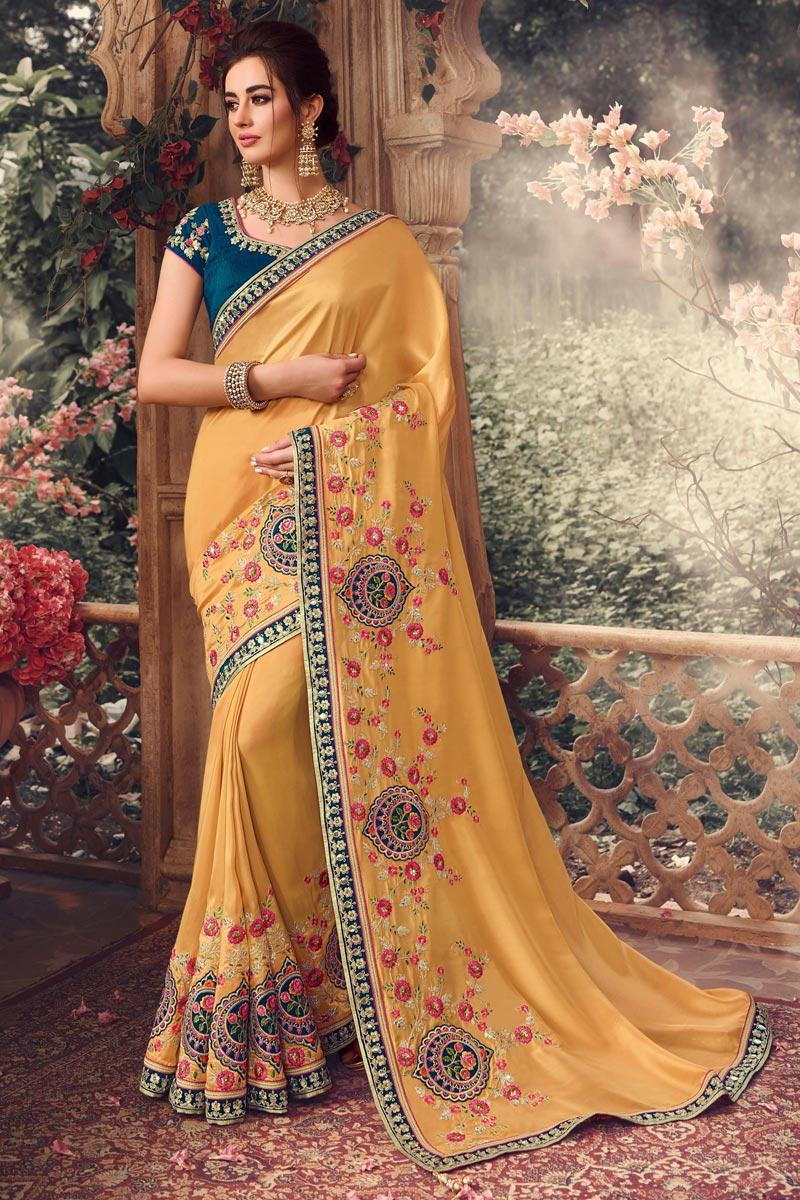 Yellow Color Designer Saree In Art Silk Fabric