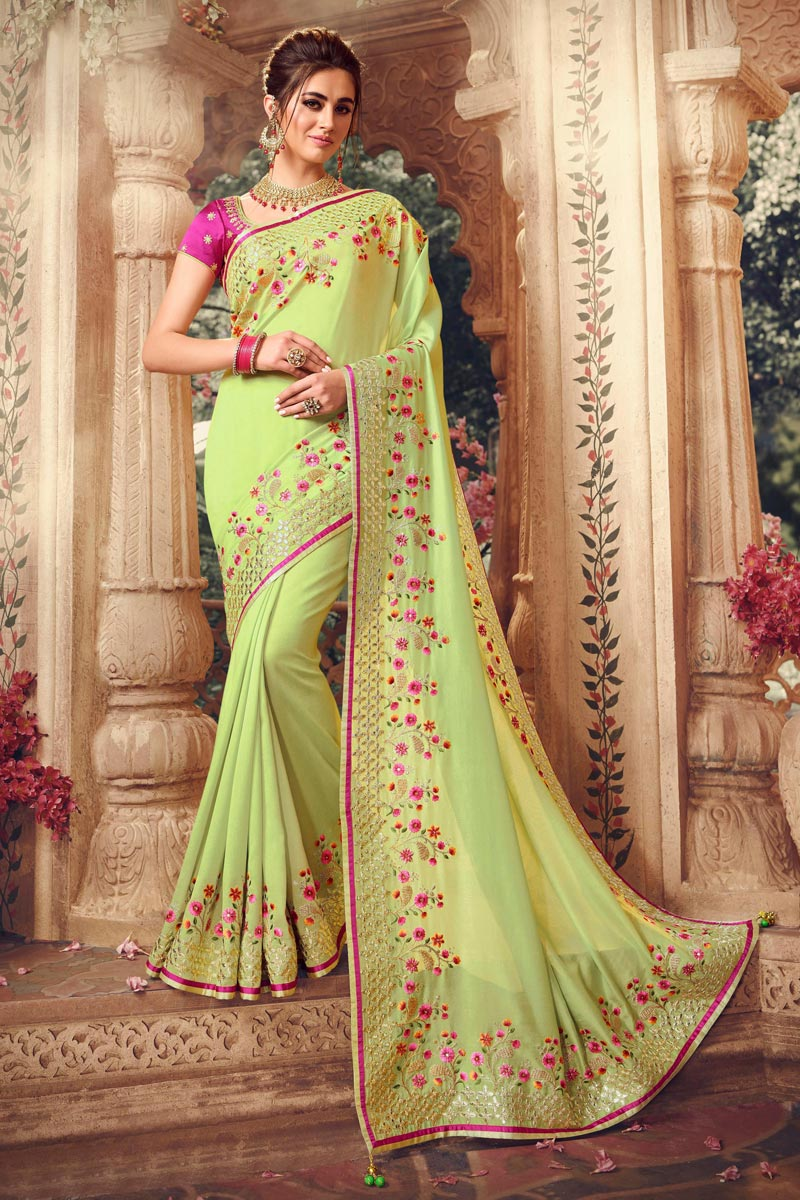 Light Green Color Art Silk Fabric Festive Wear Saree