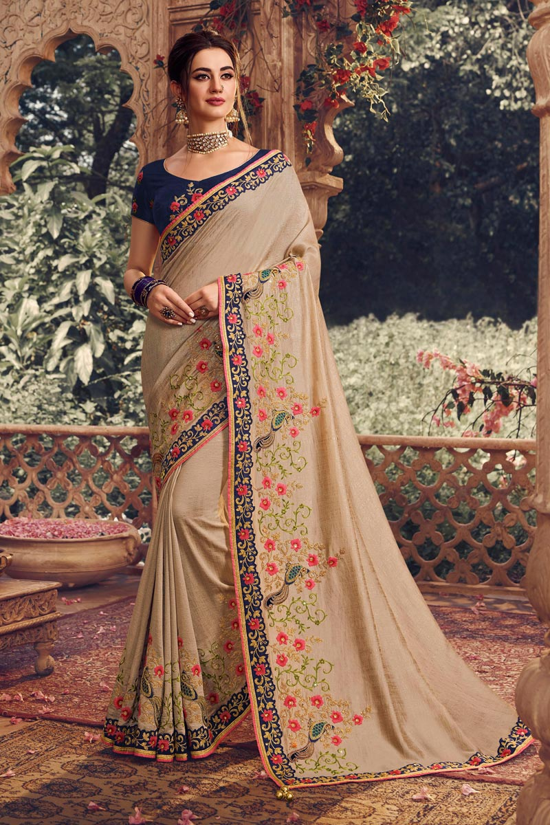 Chikoo Color Traditional Saree In Art Silk Fabric