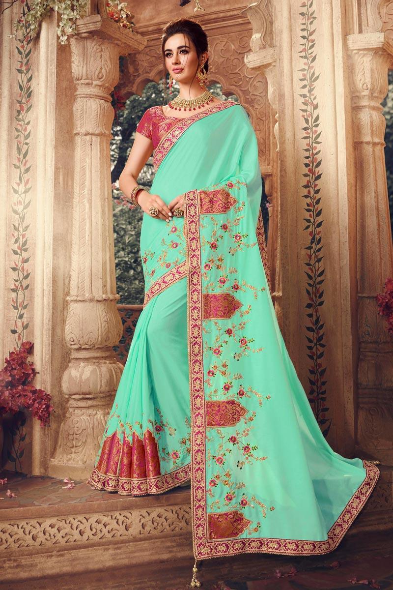 Art Silk Fabric Light Teal Color Designer Saree