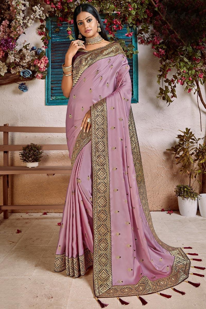 Sangeet Function Wear Trendy Art Silk Weaving Work Saree In Pink