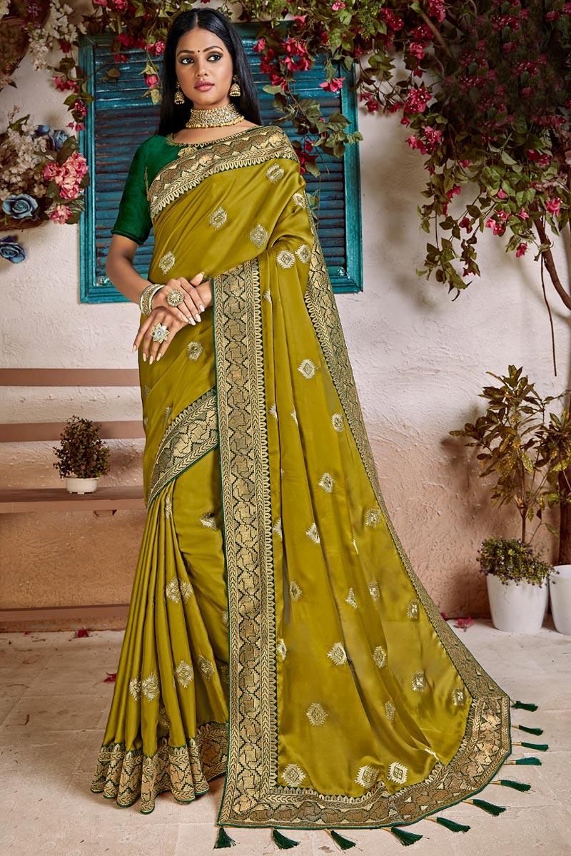 Eid Special Art Silk Trendy Mehendi Green Sangeet Function Wear Weaving Work Saree