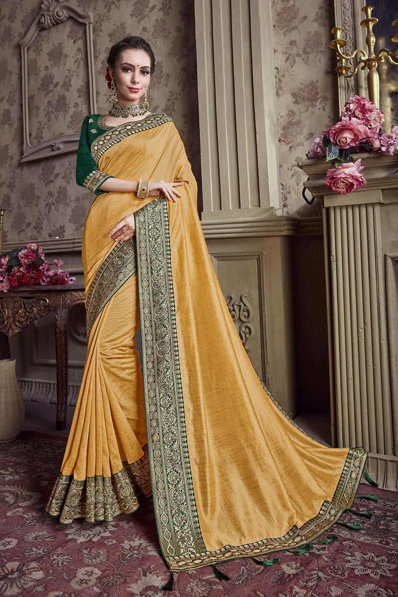 Festive Wear Art Silk Border Work Yellow Saree With Embroidered Blouse