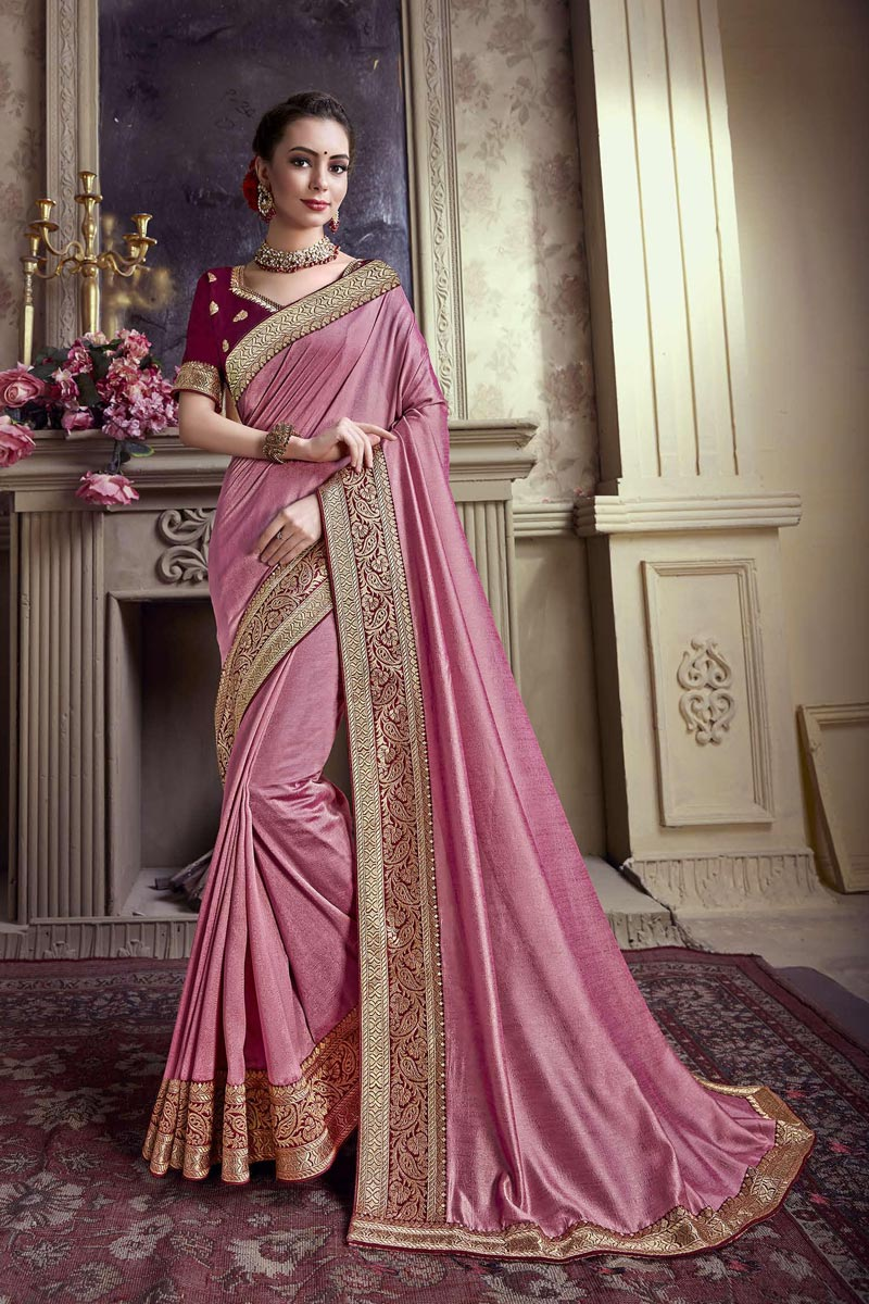 Art Silk Festive Wear Border Work Pink Saree With Embroidered Blouse