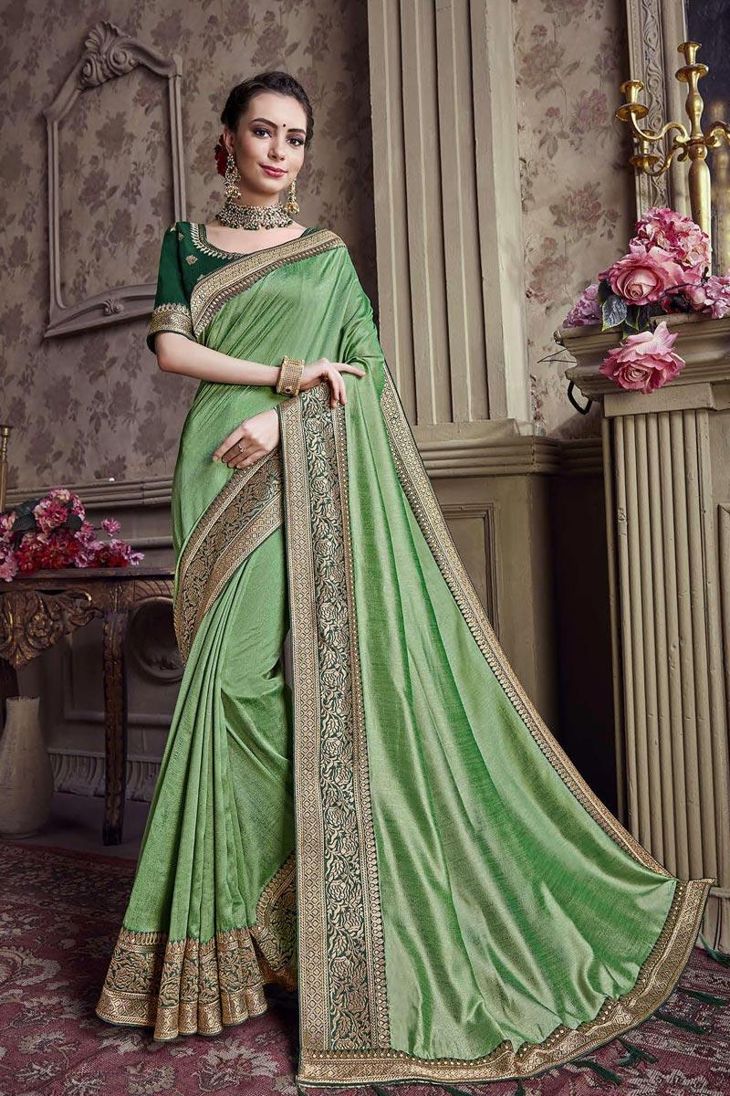 Festive Wear Art Silk Sea Green Border Work Saree With Embroidered Blouse