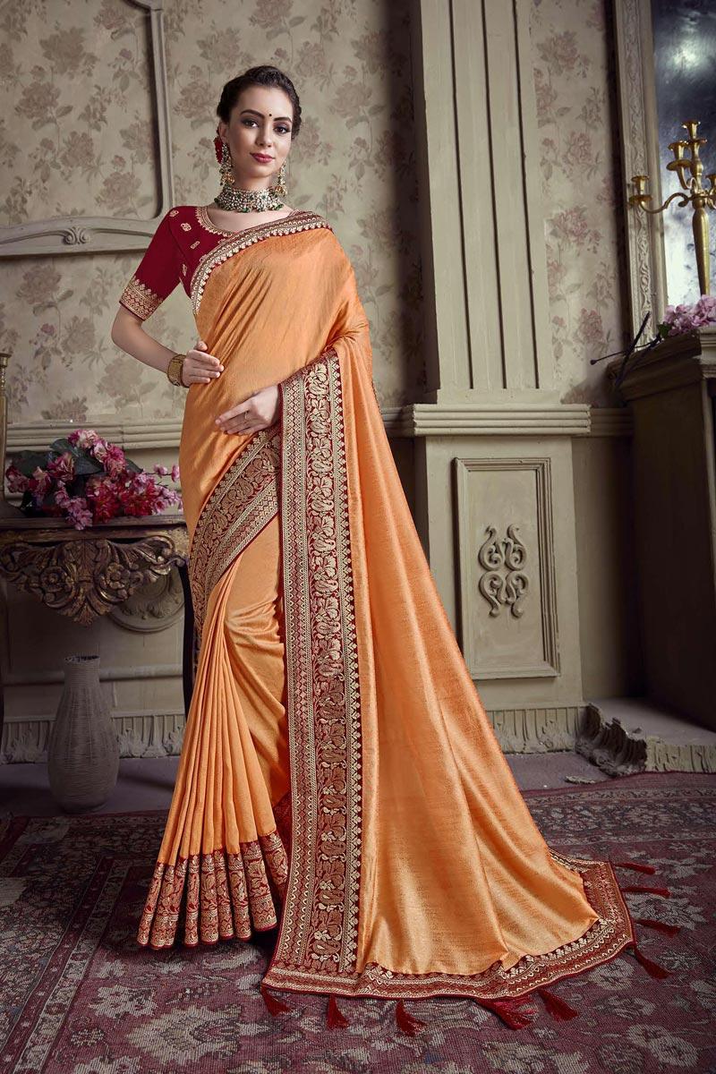 Art Silk Festive Wear Orange Border Work Saree With Embroidered Blouse