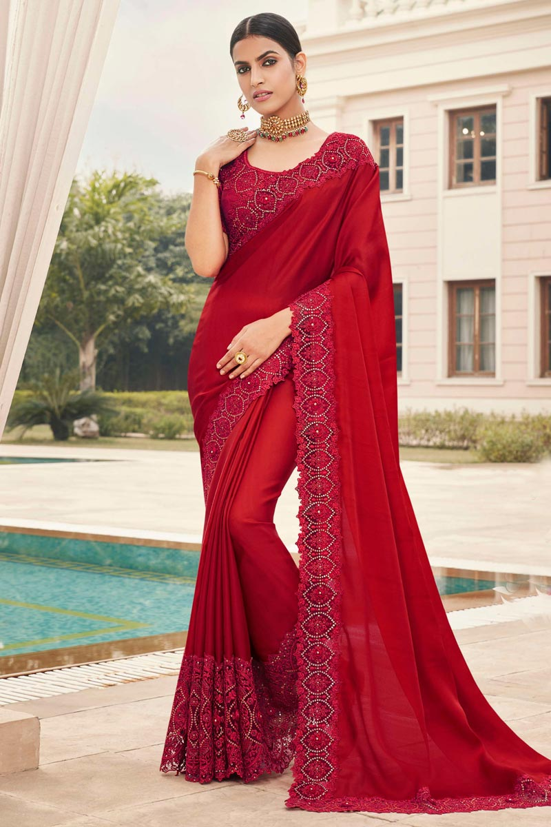 Fancy Art Silk Fabric Puja Wear Red Color Embroidery Work Saree