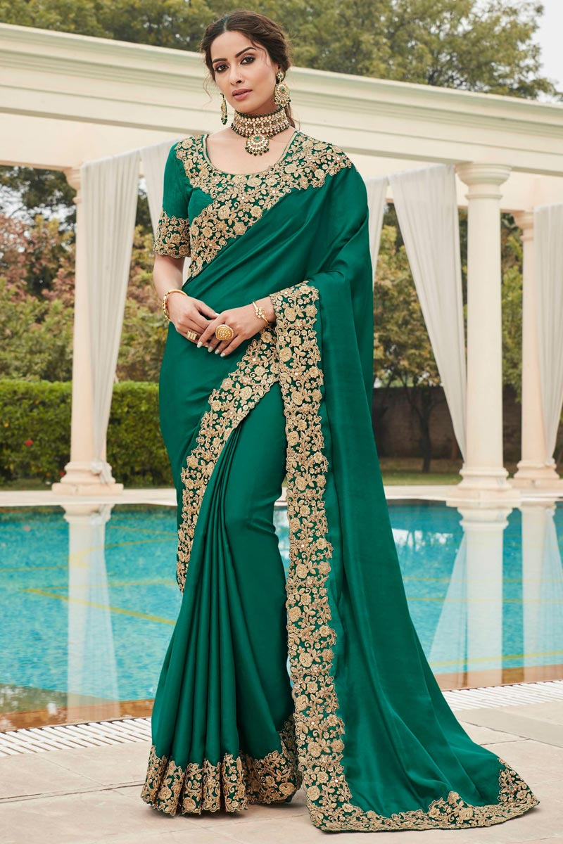 Green Color Puja Wear Fancy Art Silk Fabric Embroidery Work Saree