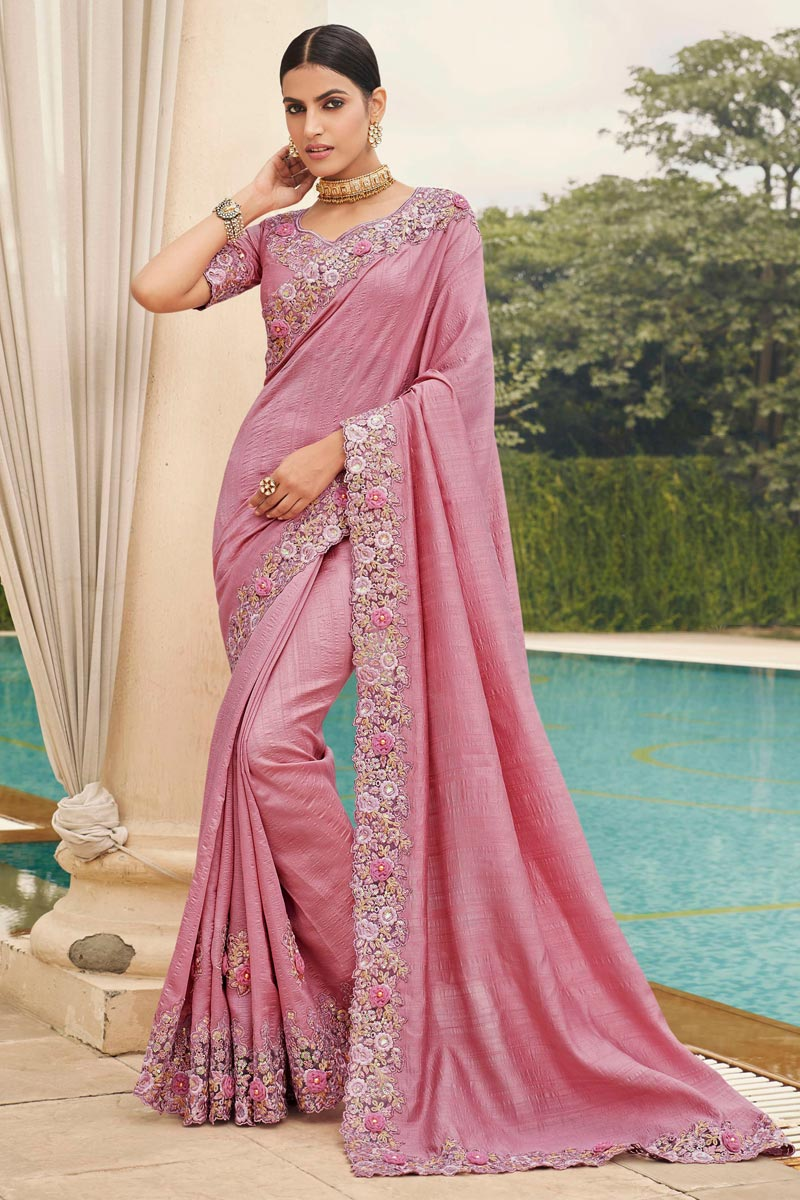Fancy Art Silk Fabric Function Wear Pink Color Embroidery Work Saree