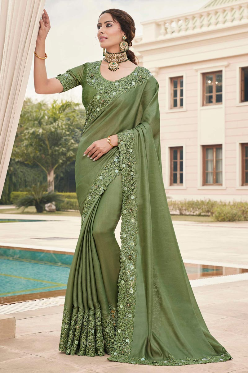 Function Wear Mehendi Green Color Fancy Art Silk Fabric Embroidery Work Saree