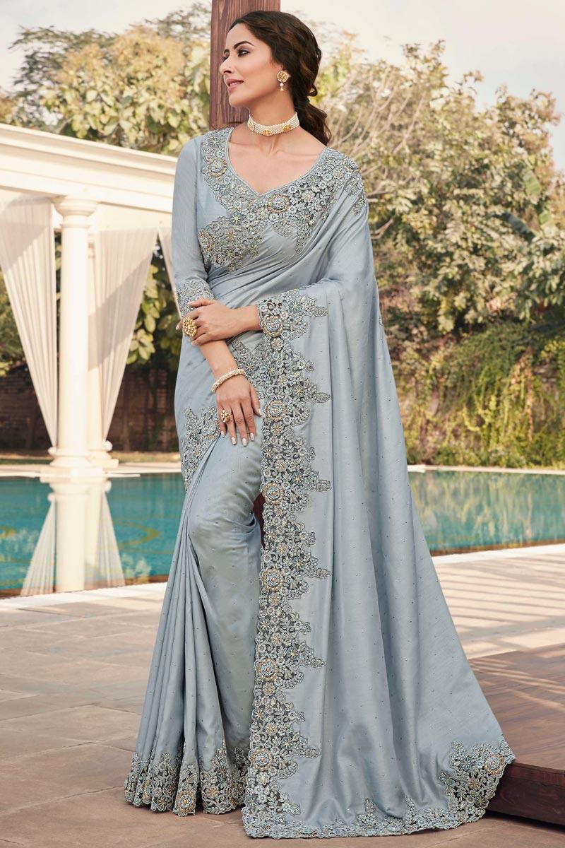 Festive Wear Art Silk Fabric Fancy Embroidery Work Saree In Grey Color
