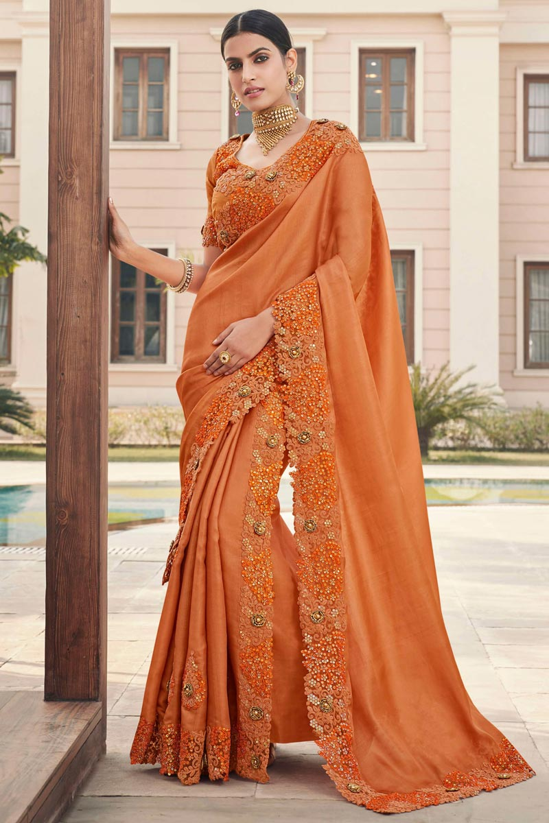 Orange Color Festive Wear Art Silk Fabric Fancy Embroidery Work Saree