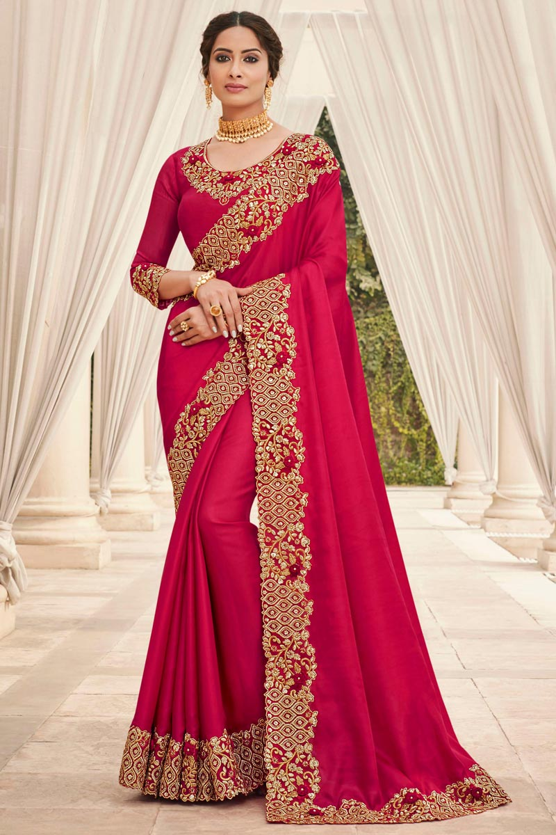 Art Silk Fabric Party Wear Rani Color Fancy Embroidery Work Saree