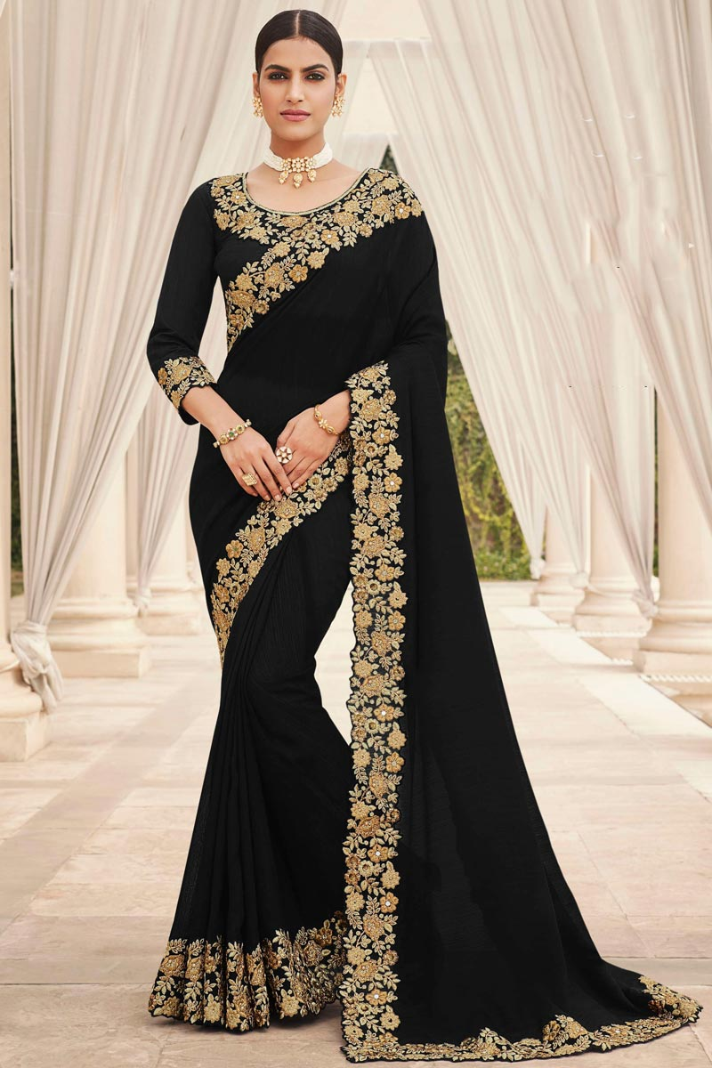 Black Color Party Wear Art Silk Fabric Fancy Embroidery Work Saree