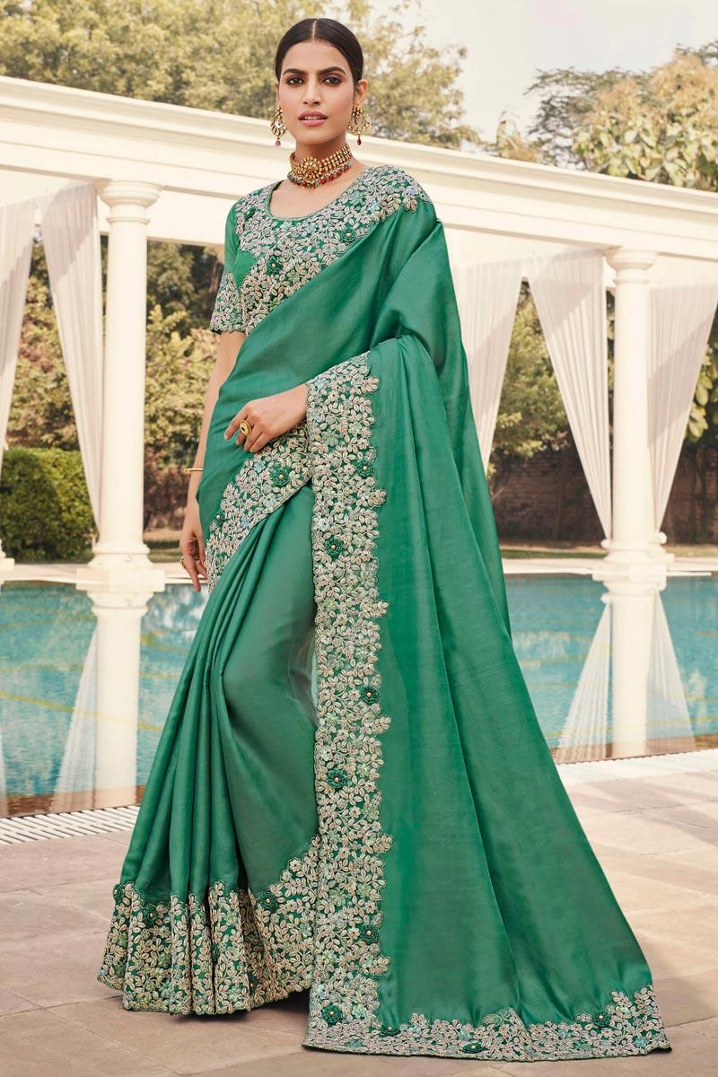 Art Silk Fabric Sangeet Wear Sea Green Color Embroidery Work Fancy Saree