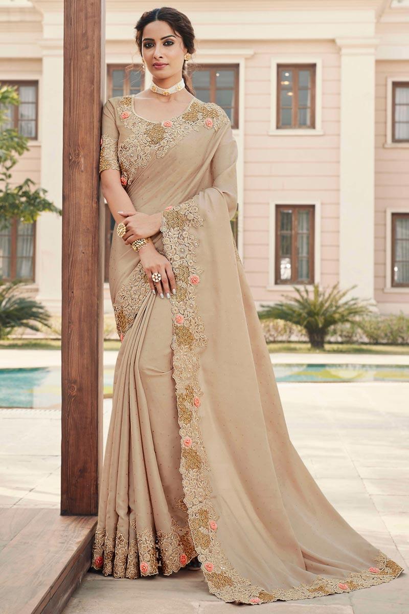 Sangeet Wear Beige Color Art Silk Fabric Embroidery Work Fancy Saree