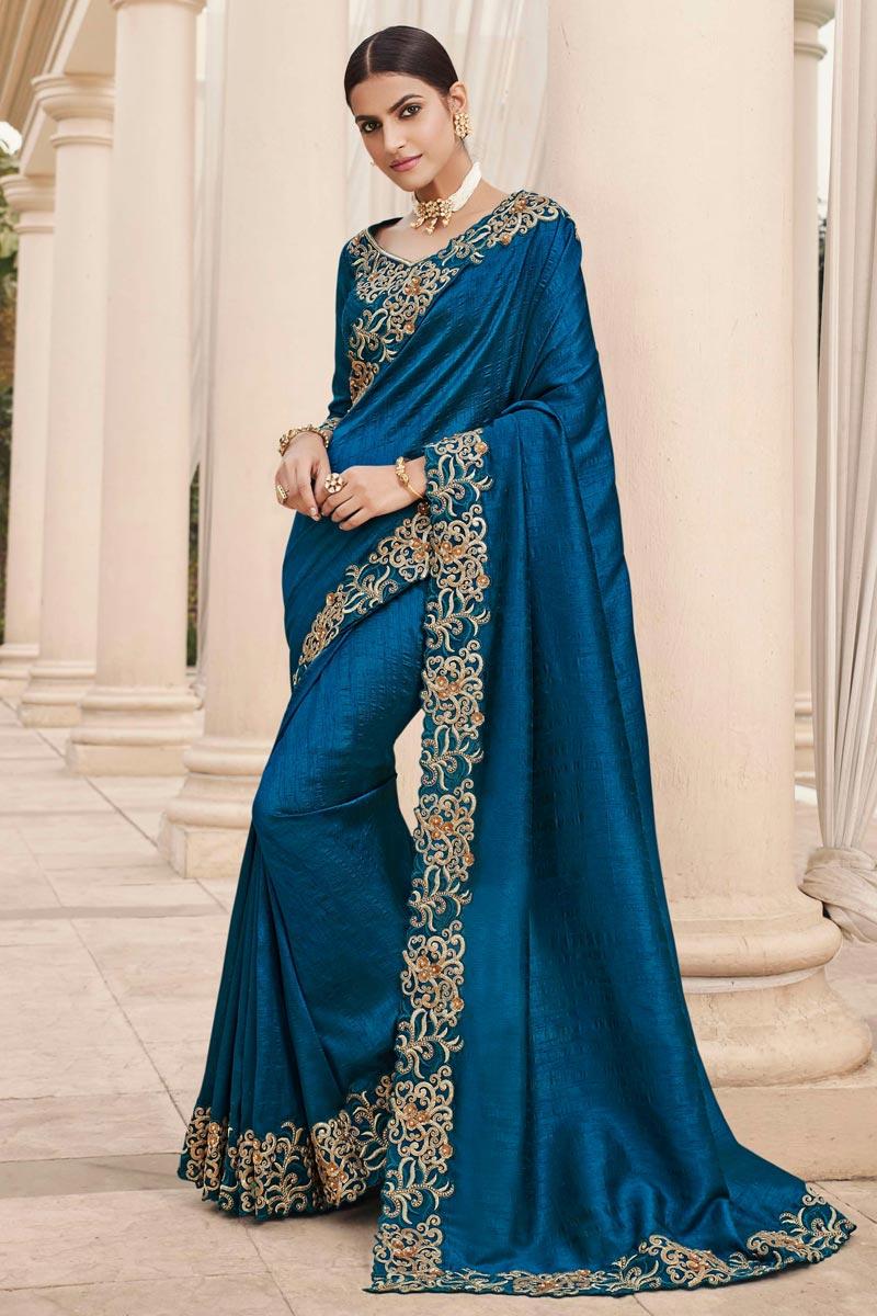 Wedding Wear Art Silk Fabric Embroidery Work Fancy Saree In Blue Color