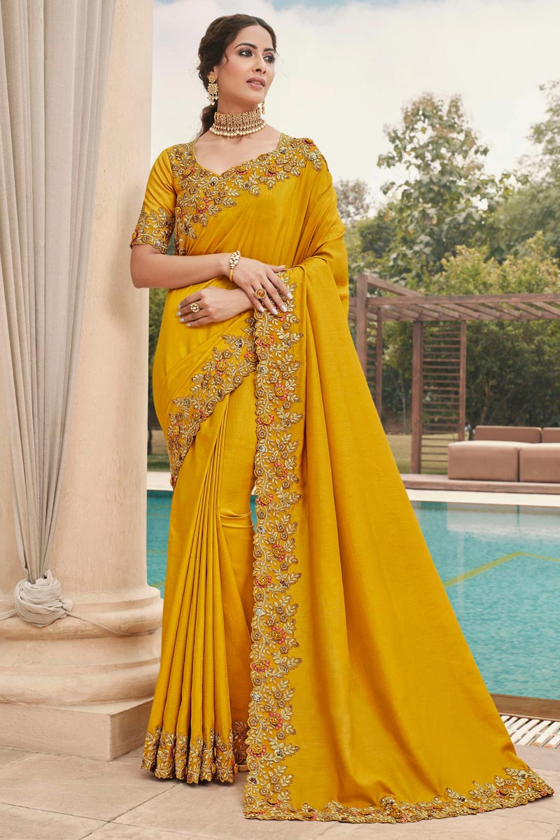 Yellow Color Reception Wear Art Silk Fabric Embroidery Work Fancy Saree