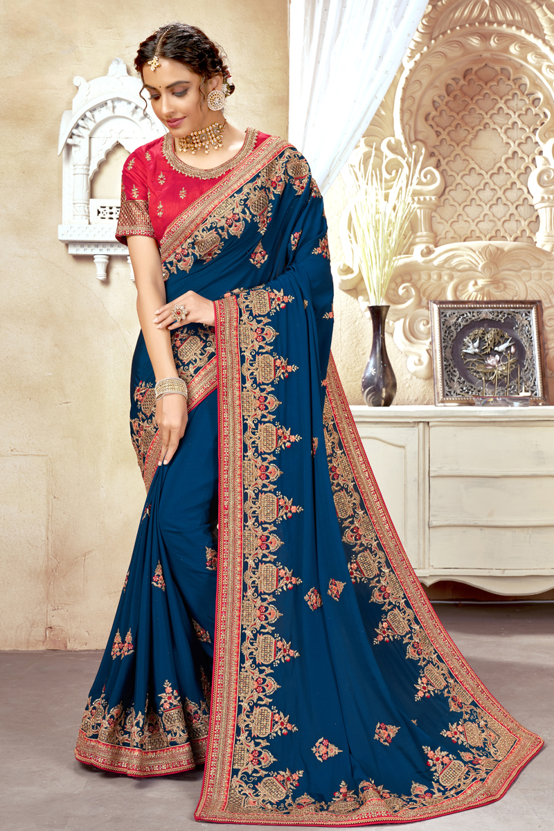 Blue Color Art Silk Fabric Embroidered Function Wear Stylish Saree