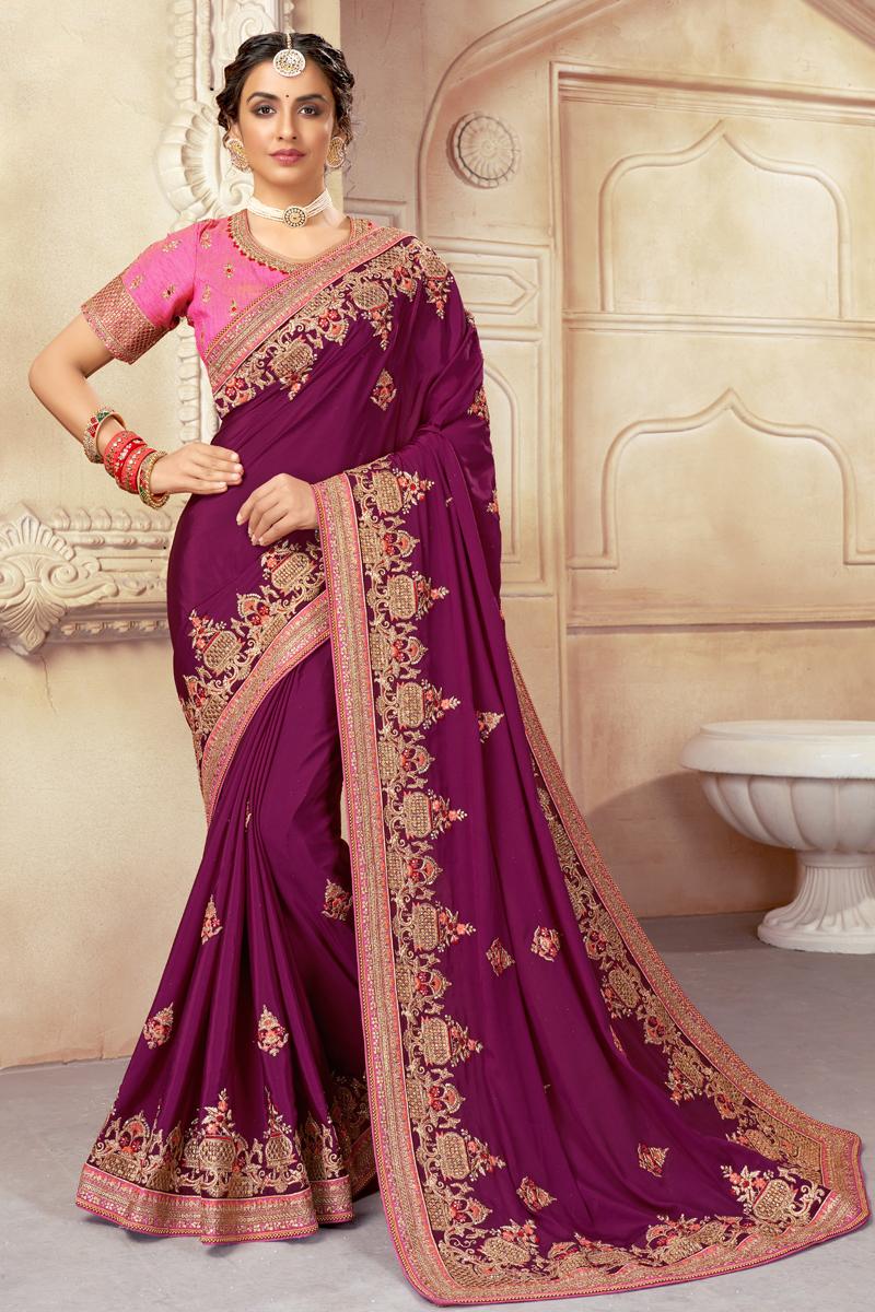 Art Silk Fabric Purple Color Embroidered Festive Wear Fancy Saree