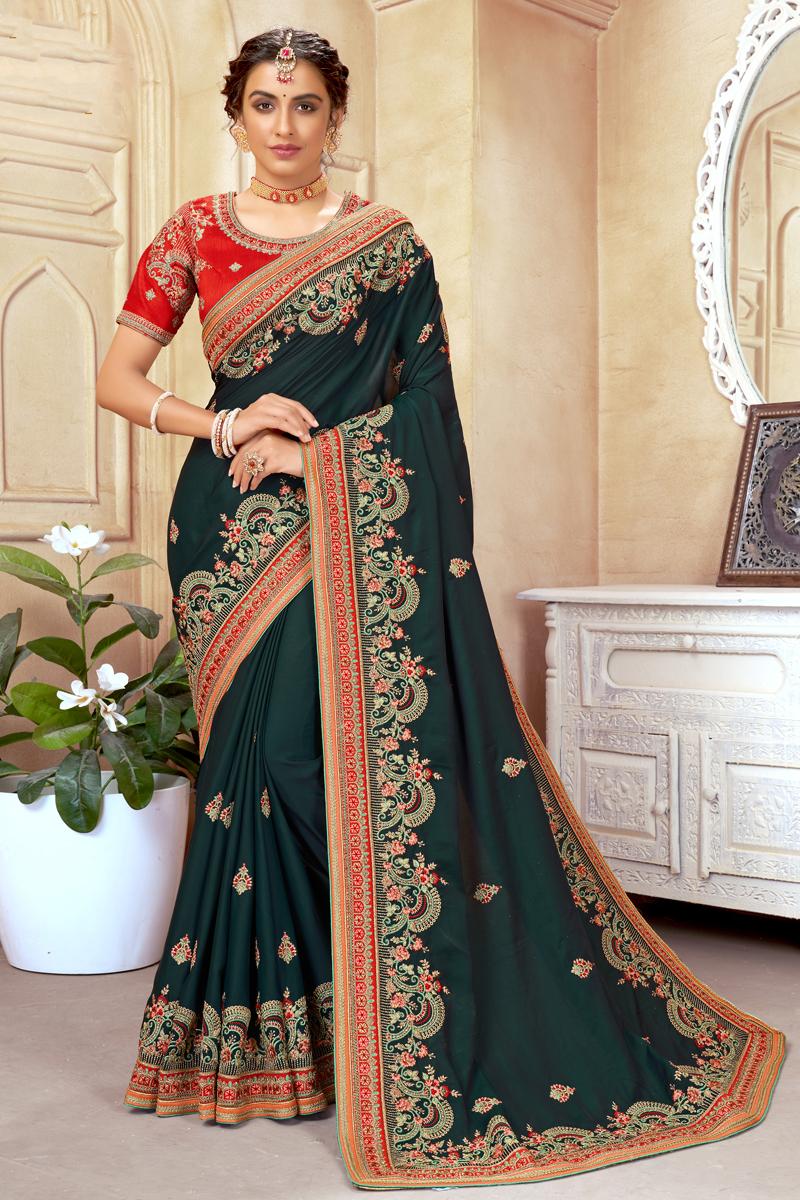 Art Silk Fabric Dark Green Color Sangeet Wear Designer Embroidered Saree