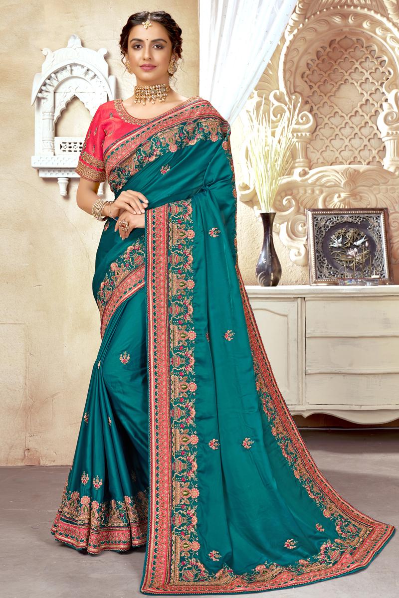 Cyan Color Art Silk Fabric Stylish Embroidered Function Wear Saree