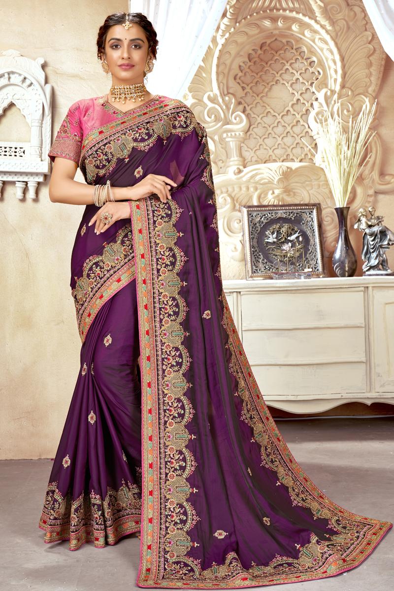 Art Silk Fabric Purple Color Fancy Embroidered Festive Wear Saree