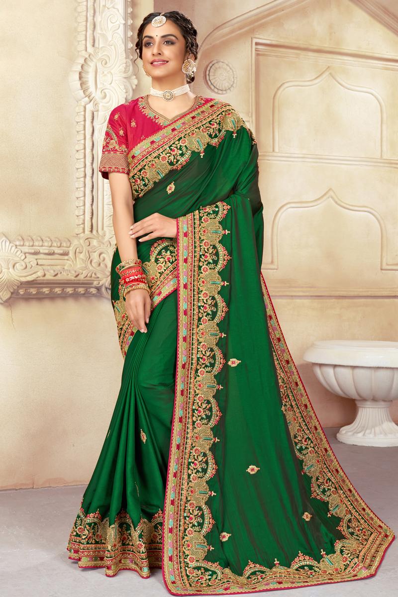 Designer Embroidered Art Silk Fabric Green Color Sangeet Wear Saree
