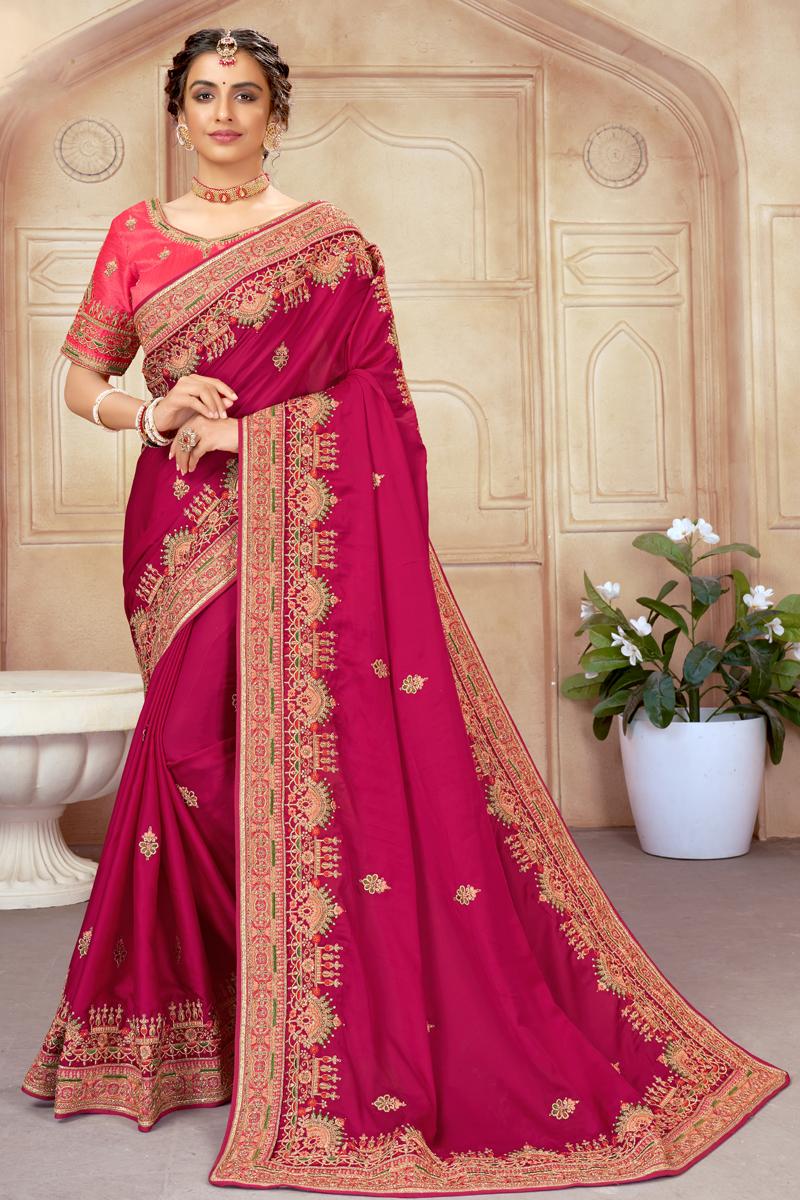 Art Silk Fabric Embroidered Rani Color Wedding Wear Saree