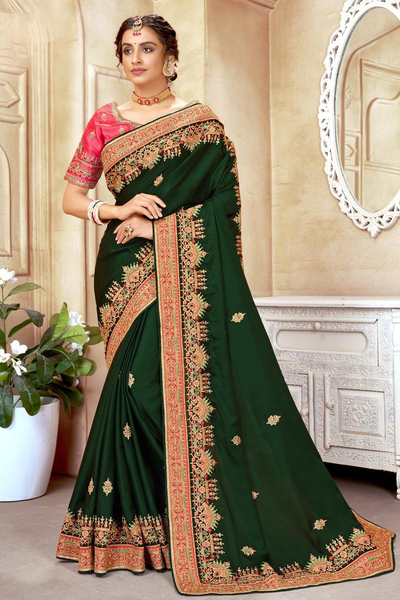 Dark Green Color Art Silk Embroidered Reception Wear Saree