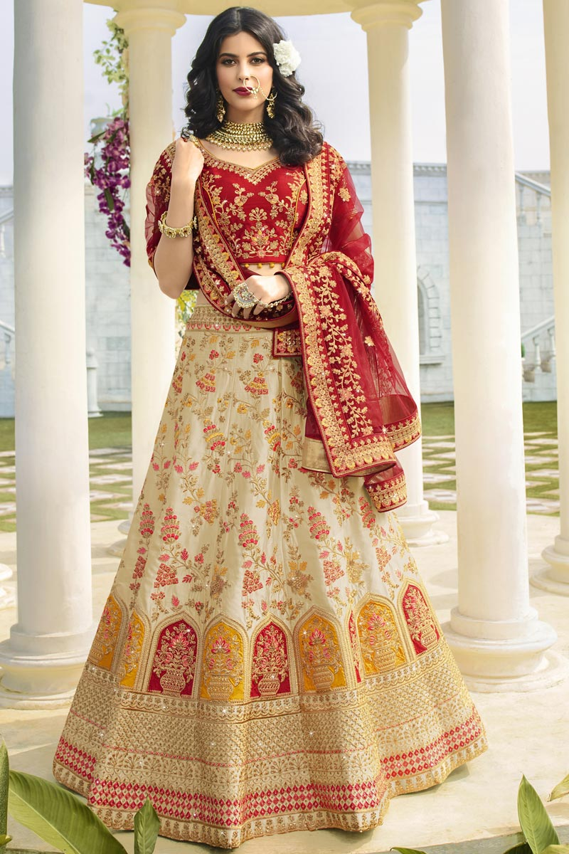 Beige Color Wedding Function Wear Satin Silk Fabric Embroidered Designer Lehenga