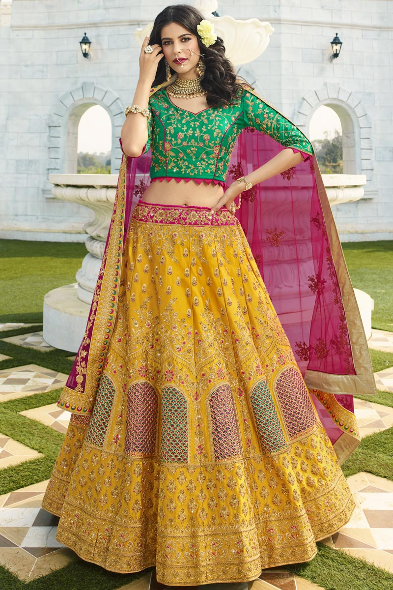 Eid Special Wedding Function Wear Satin Silk Fabric Embroidered Yellow Color Designer Lehenga Choli