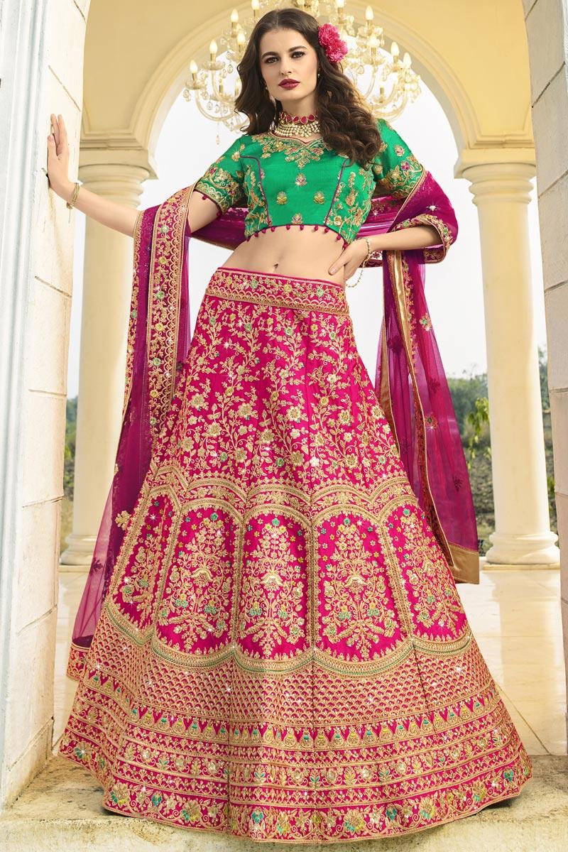 Art Silk Fabric Wedding Function Wear Designer Embroidered Rani Color Lehenga