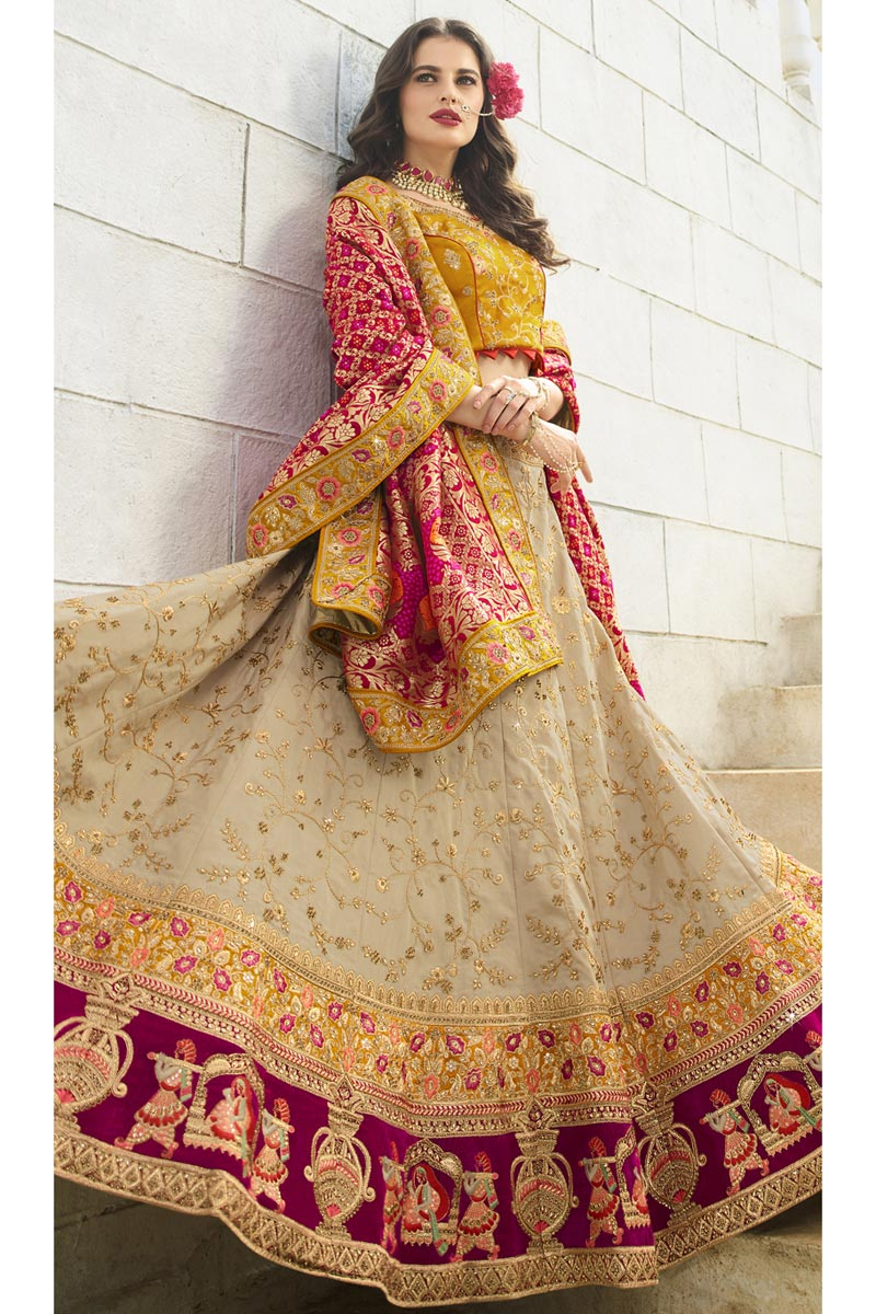 Wedding Function Wear Cream Color Satin Silk Fabric Embroidered Designer Lehenga Choli
