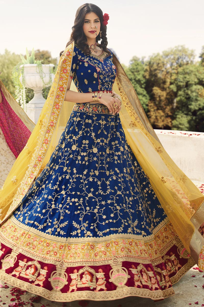 Art Silk Fabric Blue Color Wedding Function Wear Designer Embroidered Lehenga Choli